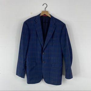 Isaia Navy Blue 100% Wool Plaid Blazer Size 52/42